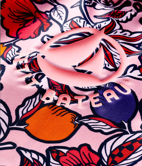Tee shirt anti-UV UPF 50+ écoresponsable bébé fille rose Merveille / blanc Multico