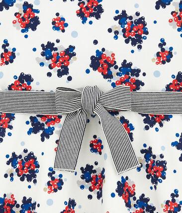 Robe fleurie en molleton blanc Marshmallow / blanc Multico