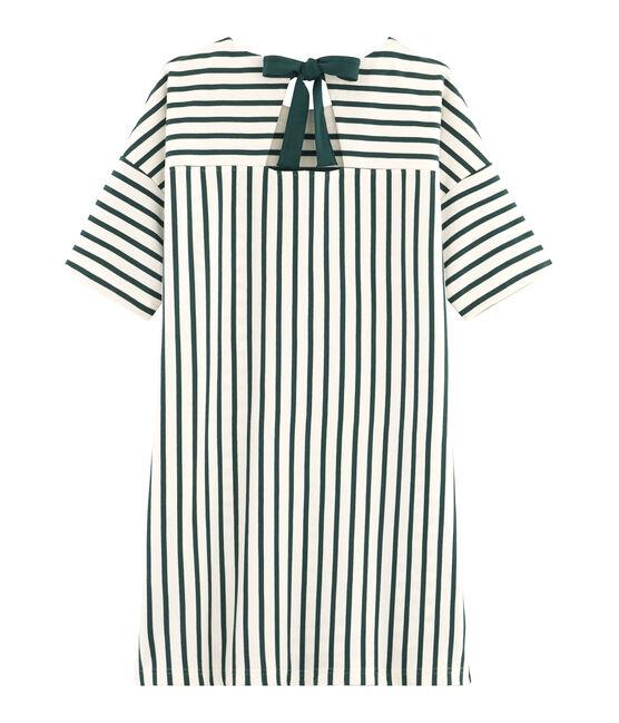 Robe manches courtes femme beige Coquille / vert Sousbois
