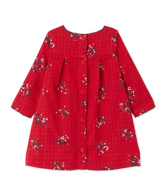 Robe bébé fille en tubique imprimé rouge Froufrou / blanc Multico