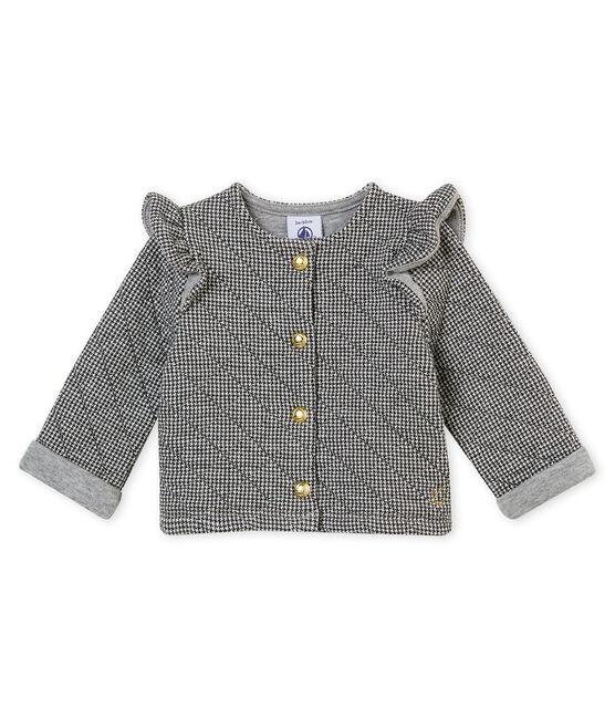 Cardigan bébé fille tubique pied-de-poule gris Capecod / blanc Marshmallow
