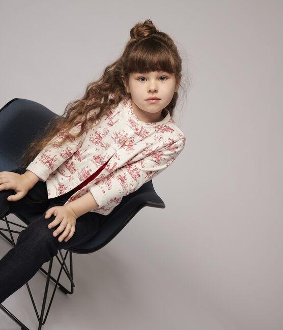 Cardigan en molleton enfant fille blanc Marshmallow / rouge Terkuit