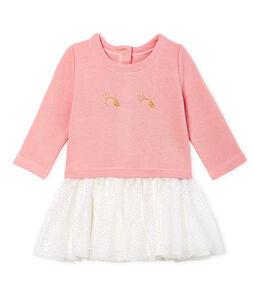 Robe manches longues bi-matière bébé fille rose Charme / blanc Multico