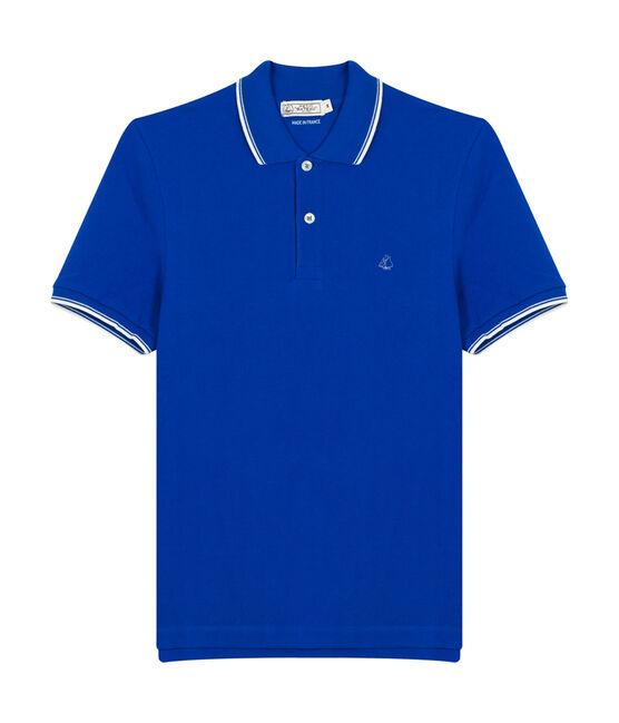 Polo manches courtes homme bleu Perse