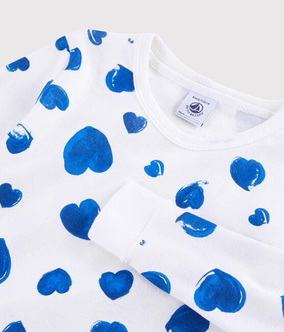Pyjama snugfit cœurs bleus petite fille en côte blanc Marshmallow / bleu Bleu