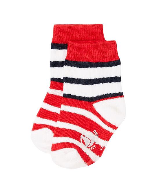 Chaussettes bébé garçon rayées rouge Peps / blanc Multico