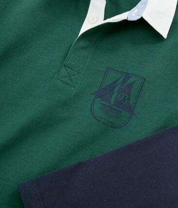 Polo rugby enfant garçon vert Sousbois / bleu Smoking
