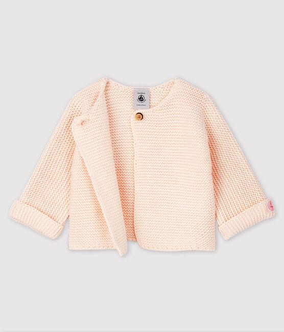 Cardigan bébé en tricot de coton biologique rose Fleur