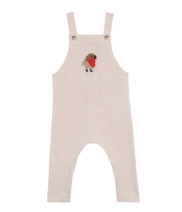 Salopette longue bébé garçon en tricot laine, nylon et alpaga. rose Fleur