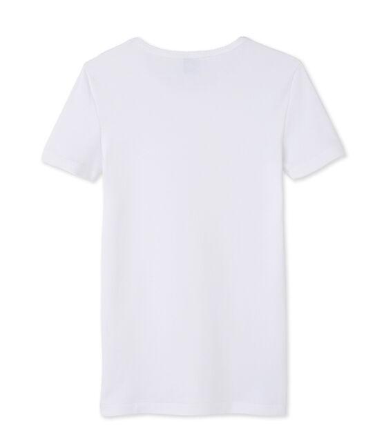 Tee-shirt manches courtes uni femme blanc Ecume