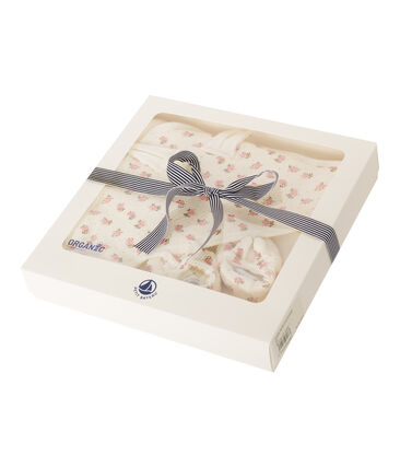 Coffret carré de bain et chaussons bébé en BE et côte blanc Marshmallow / rose Gretel