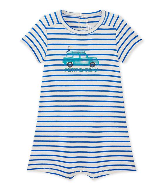 Combicourt bébé garçon marinière blanc Feta / bleu Perse