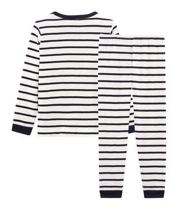 Pyjama petit garçon en côte blanc Marshmallow / bleu Smoking