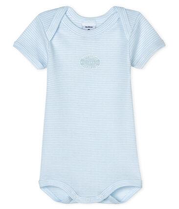Body manches courtes bébé garçon bleu Fraicheur / blanc Ecume