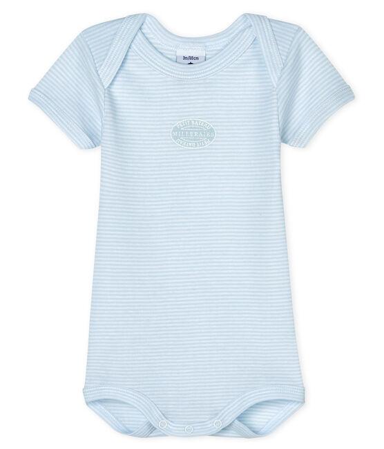 Body manches courtes bébé garçon-fille bleu Fraicheur / blanc Ecume