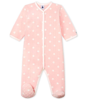 Surpyjama bébé fille en polaire rose Minois / blanc Marshmallow