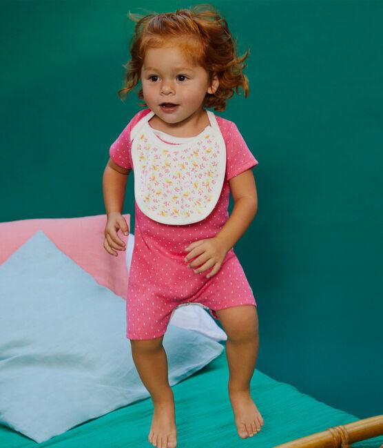 Combicourt bébé fille en côte rose Cupcake / blanc Marshmallow