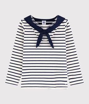 Tee-shirt manches longues en jersey enfant fille blanc Marshmallow / bleu Smoking