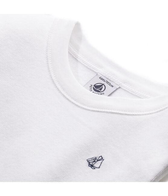 T-shirt garçon manches longues à broderie voilier blanc Ecume