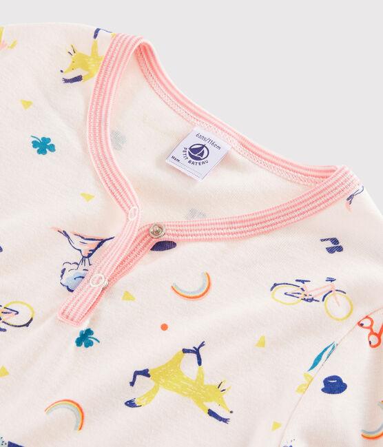 Chemise de nuit imprimé fantaisie petite fille en côte rose Fleur / blanc Multico