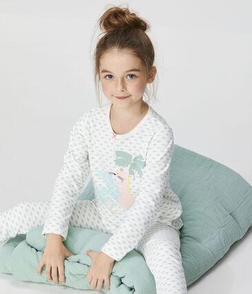 Pyjama petite fille en tubique blanc Marshmallow / blanc Multico