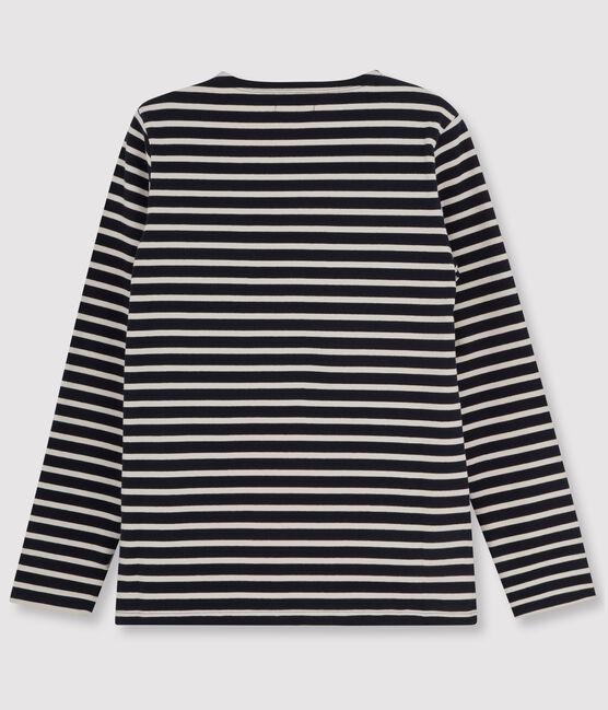 Marinière iconique manches longues 100% coton jersey lourd. bleu Smoking / beige Coquille