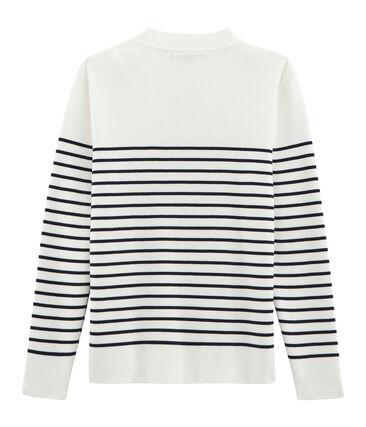 Pull marin en coton tricot côte 1x1. blanc Marshmallow / bleu Smoking