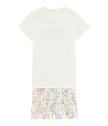 Pyjacourt fille en côte blanc Marshmallow / blanc Multico