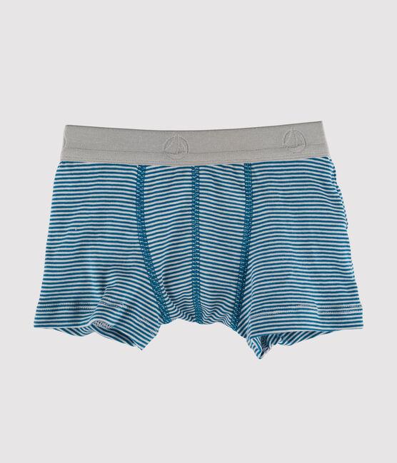 Boxer petit garçon bleu Contes / blanc Marshmallow