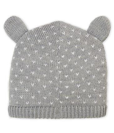 Bonnet doublé polaire bébé mixte gris Subway / blanc Marshmallow