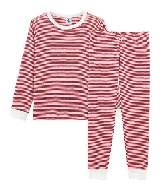 Pyjama petit garçon en côte rouge Terkuit / blanc Marshmallow