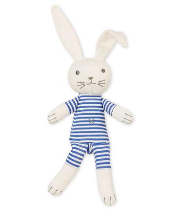 Doudou lapin hochet bébé mixte bleu Smoking / blanc Marshmallow
