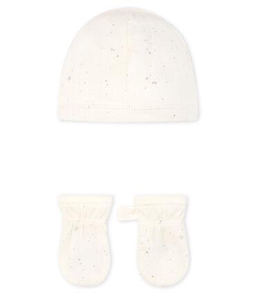 Lot bonnet et moufles bébé en tubique lot .