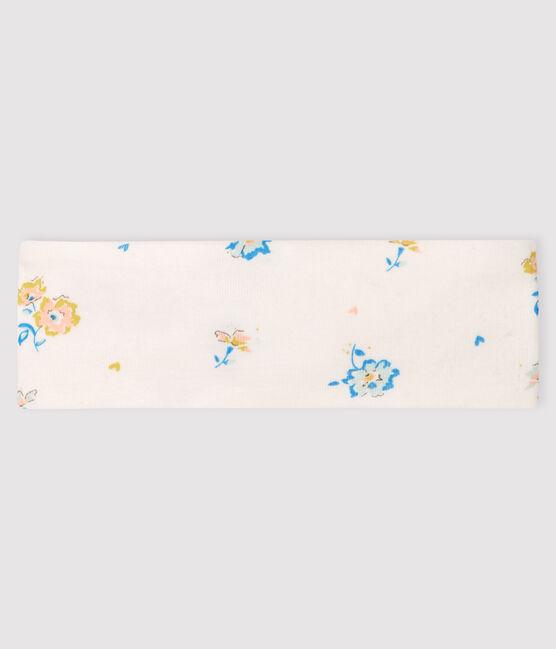 Bandeau fleur bébé fille en côte blanc Marshmallow / blanc Multico