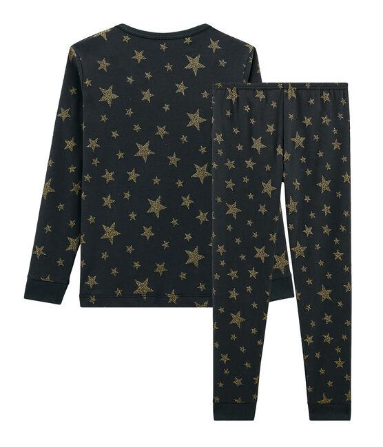 Pyjama petite fille coupe très ajustée en côte gris Capecod / jaune Or