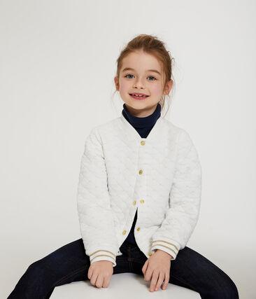 Cardigan en tubique matelassé enfant fille blanc Marshmallow