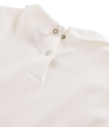 T-shirt fille à col claudine blanc Marshmallow