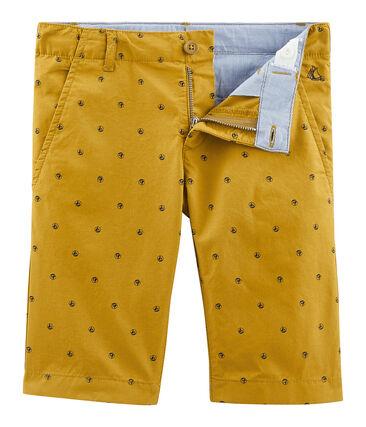 Bermuda enfant garçon jaune Topaze / blanc Feta