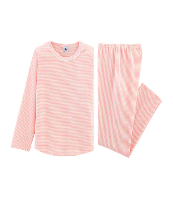 Pyjama petite fille en côte rose Rosako / blanc Marshmallow