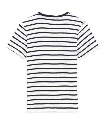 Tee shirt rayure marinière pour femme blanc Marshmallow / bleu Smoking