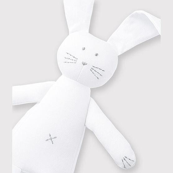 Doudou lapin bébé en jersey blanc Ecume