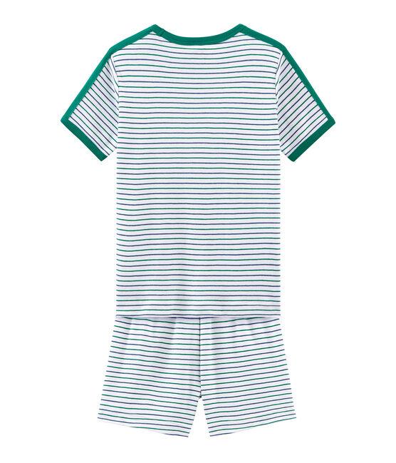 Pyjacourt petit garçon en côte blanc Marshmallow / blanc Multico