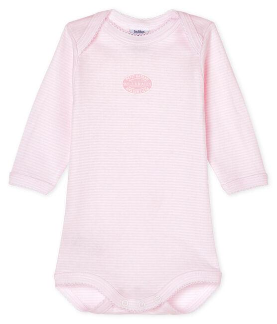 Body manches longues bébé fille rose Pearl / blanc Multico