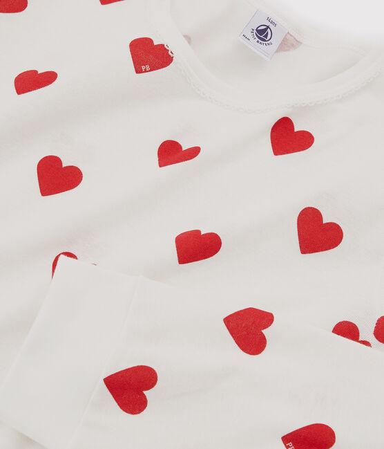 Pyjama fille-femme imprimé cœurs en côte blanc Marshmallow / rouge Terkuit