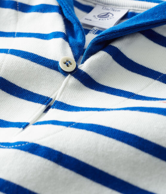 Combicourt bébé garçon rayé blanc Marshmallow / bleu Surf