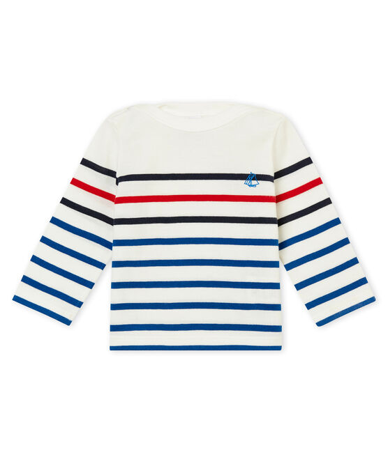 tee-shirt rayure placée bébé garçon blanc Marshmallow / blanc Multico