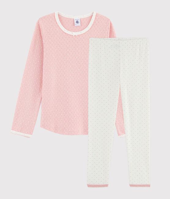 Pyjama rose à pois petite fille en côte troutrou blanc Marshmallow / rose Charme