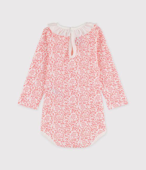 Body manches longues en coton bébé. blanc Marshmallow / rose Gretel