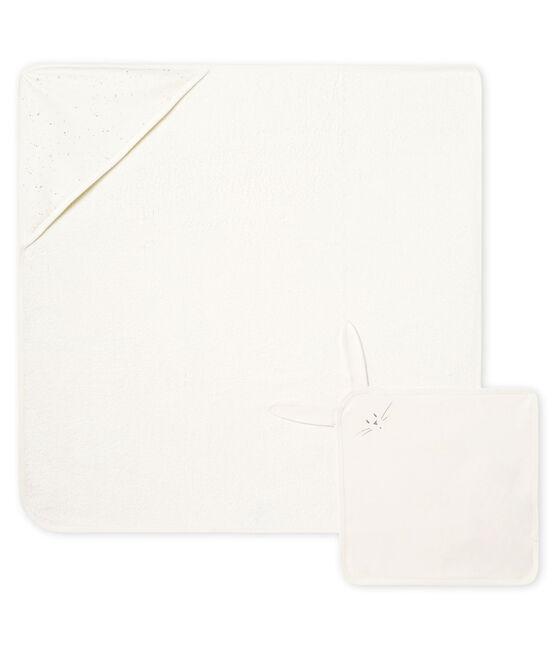 Coffret carré de bain et doudou bébé en BE et tubique blanc Marshmallow / blanc Multico