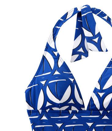 Maillot de bain 1 pièce femme imprimé blanc Marshmallow / bleu Perse